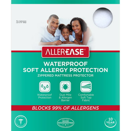 Image of AllerEase Soft Terry Allergy Protection Waterproof Zippered Mattress Protector, King