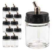 10 Pack of Master Airbrush TB-002 3/4 oz Glass Jar Bottles with 30° Down Angle Adaptor Lid Assembly - Dual-Action Siphon