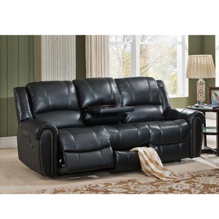 Houston Top Grain Leather Reclining Sofa With Memory Foam Usb Ports And Pull