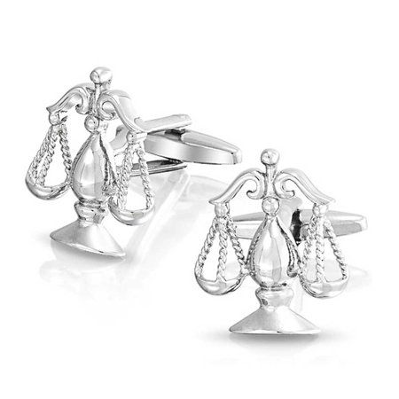 Attorney Legal Judge Lawyer Scales Of Justice Libra Shirt Cufflinks For Men Silver Tone Stainless Steel Hinge (Stainless Steel Oval Cufflinks)