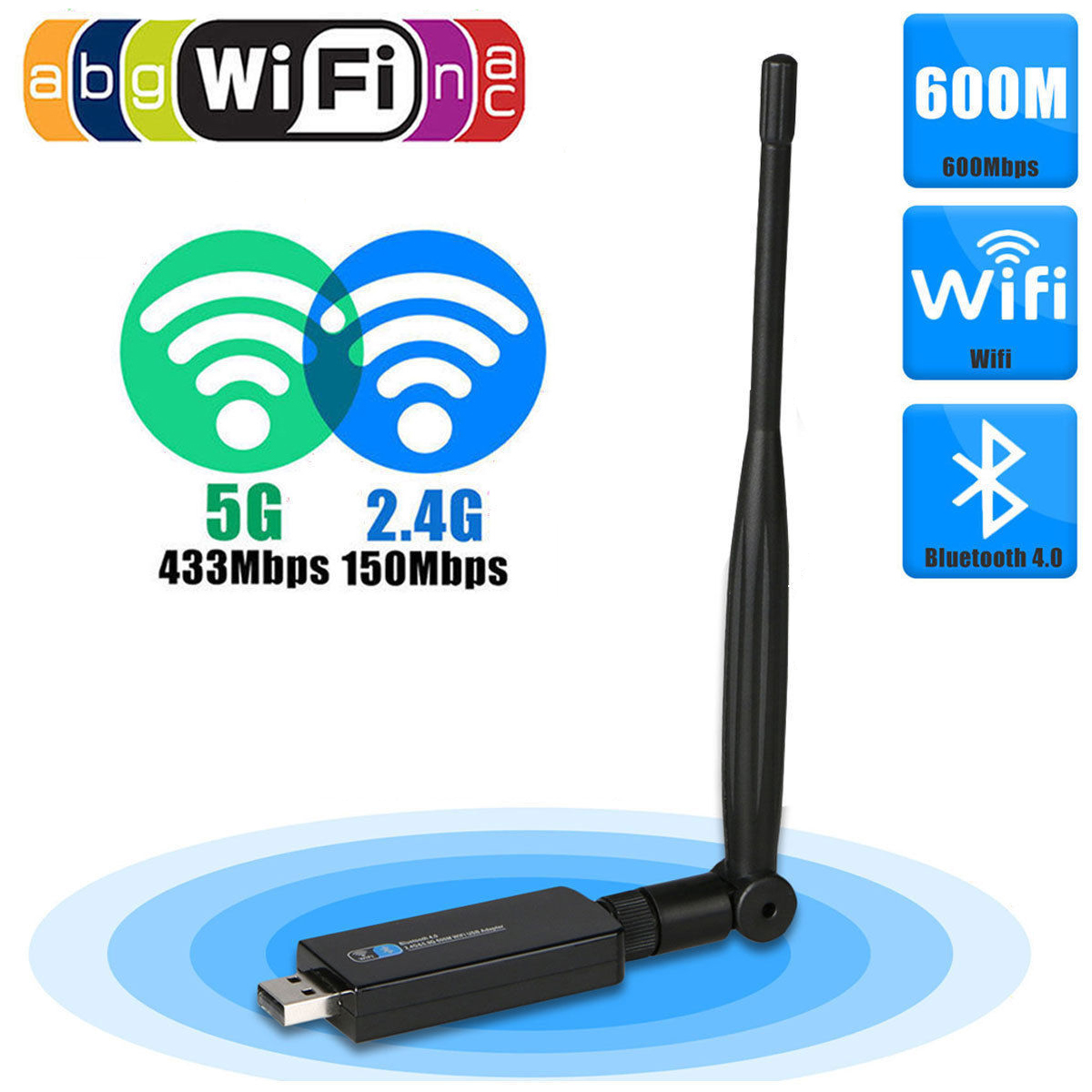 Bluetooth 4.0/600Mbps Dual Band Wifi Router Wireless Network Repeater Adapter Dongle Transmitter