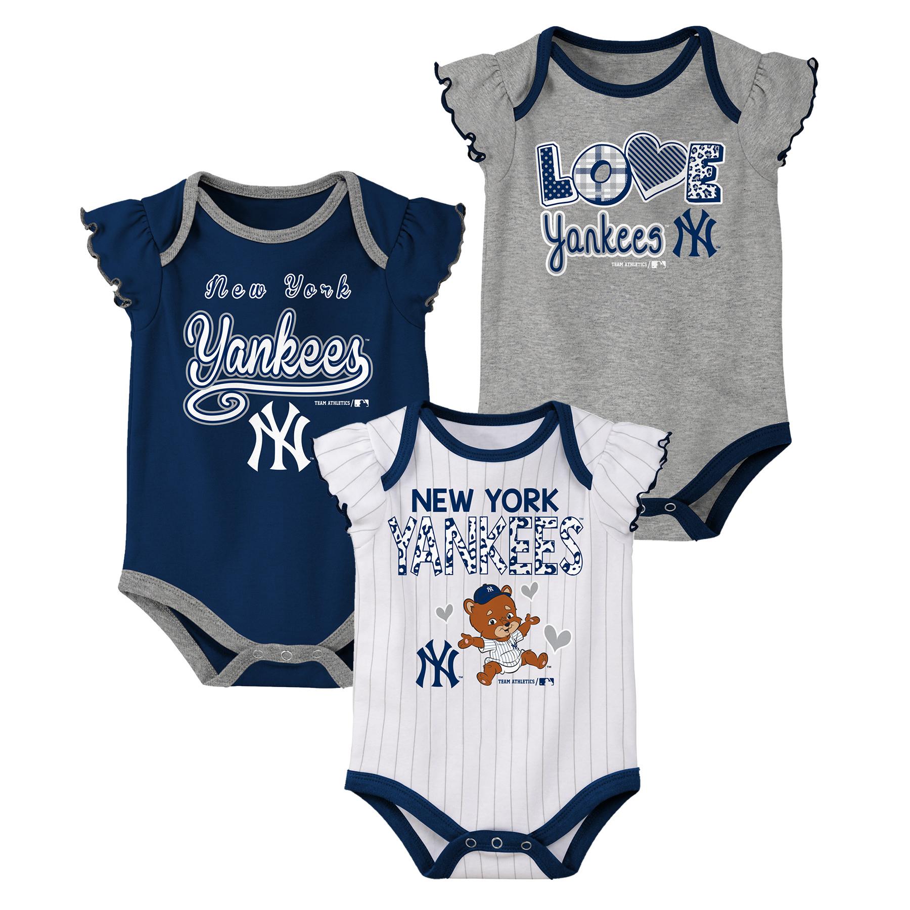 MLB New York YANKEES Onesie Creeper GIRL 3PK 100% Cotton ASSORTED Colors 0M-18M