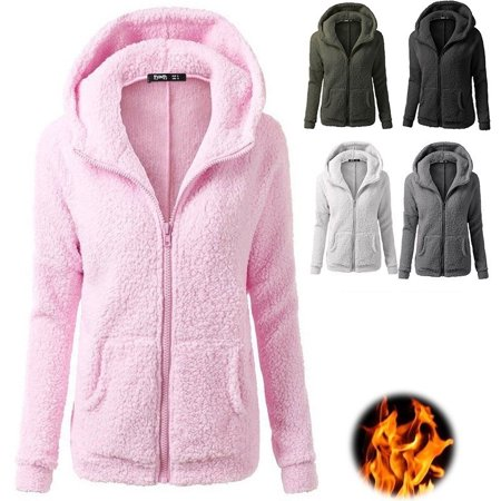 Women Stretchy Soft Long Sleeve Hooded Fleece Jacket Zipper Jumper Overcoat Fashion Tops