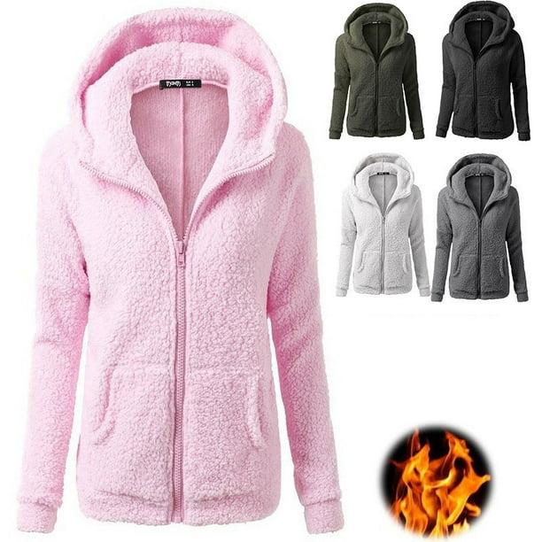 Women Stretchy Soft Long Sleeve Hooded Fleece Jacket Zipper Jumper Overcoat Fashion Tops