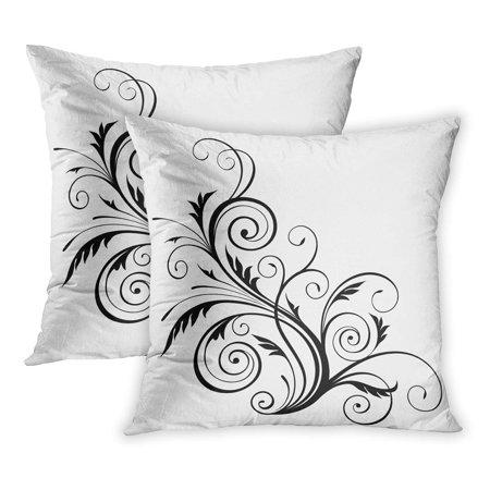 ECCOT Green Swirl Floral Pattern Border Corner Damask Flourish PillowCase Pillow Cover 18x18 inch Set of 2