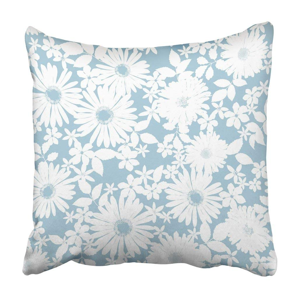 BPBOP Blue Beautiful Abstract Floral White Beauty Cartoon Chamomile Cute Feminine Flower Pillowcase Cover 16x16 inch