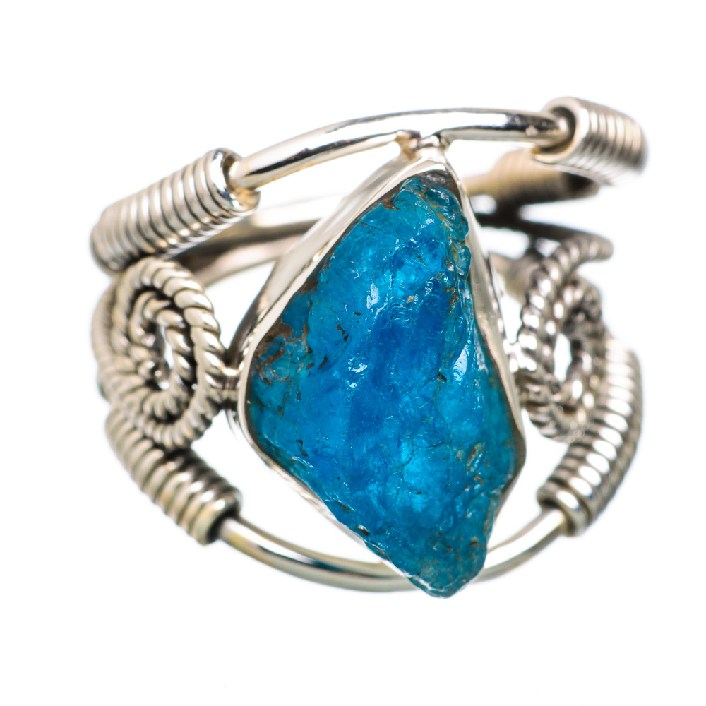 Ana Silver Co Rough Apatite 925 Sterling Silver Ring Size 5.5 - Handmade Jewelry RING824060