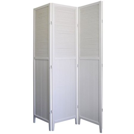 Legacy Decor 3-Panel Solid Wood Shutter Room Divider White Finish