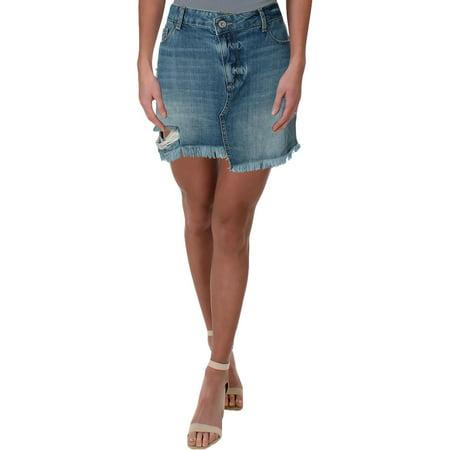 - Paige Womens Afia Distressed Cutoff Denim Skirt