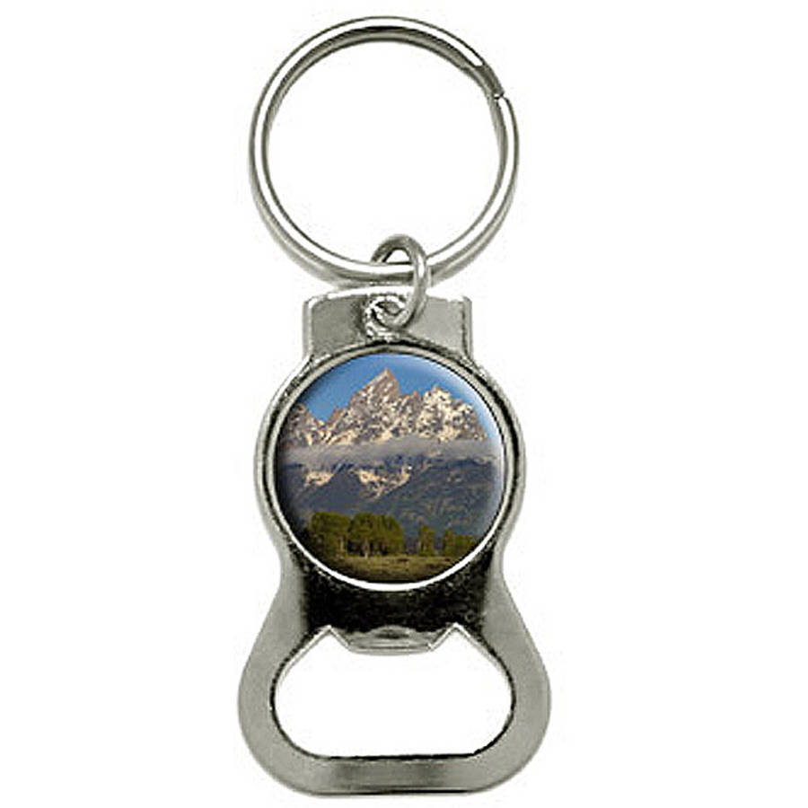 Grand Teton National Park Wyoming Bottle Cap Opener Keychain Key Ring