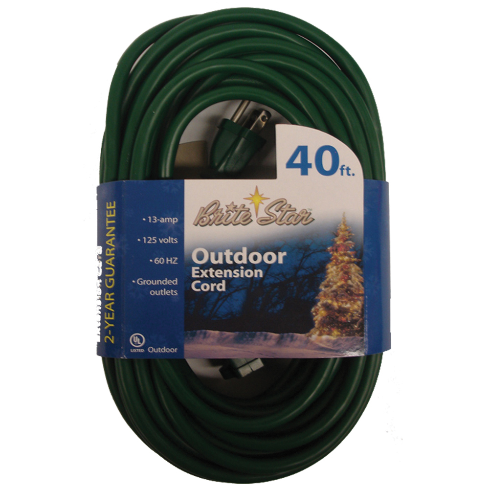 Brite Star Grounded Outdoor 3-Prong Extension Cord - 40 Feet