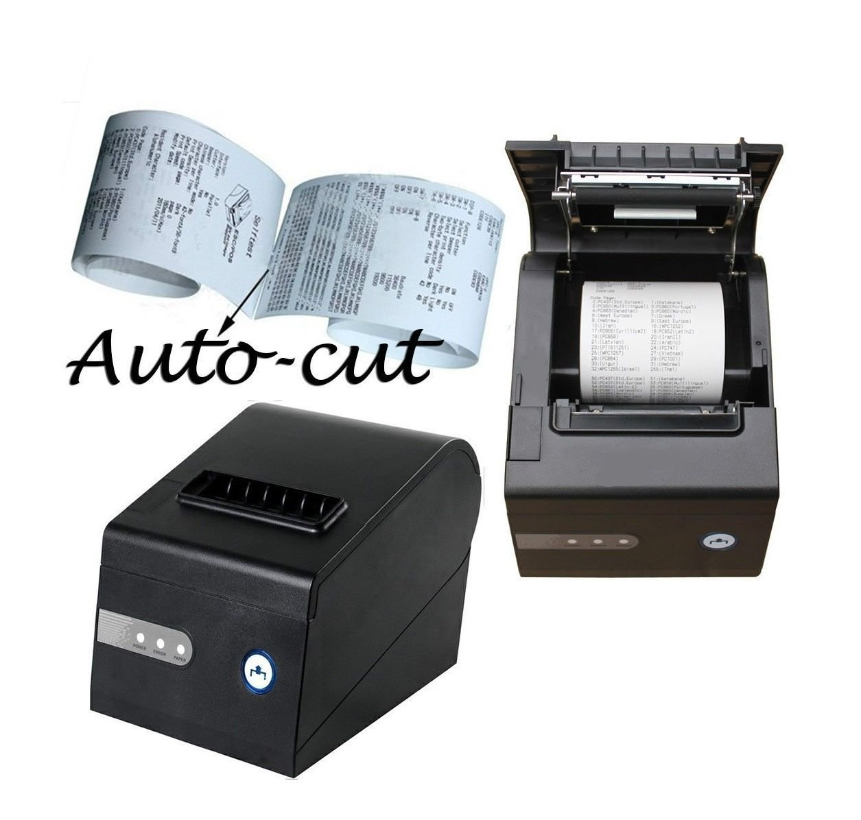 "2xhome 80mm Thermal Receipt Printer USB Auto Cutting Cut Autocut Cash Register Cashier POS Small Business Kitchen 3 1/8 "" Inch 80 mm Line Dot Print Windows Window 7 XP VISTA"