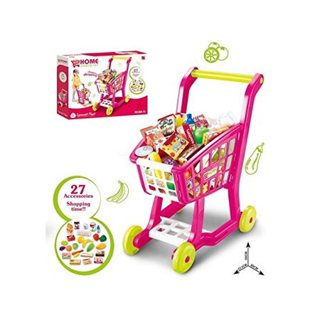 NBD Kids Shopping Cart for Toy Groceries, Pink Portable Cart with 27 Pieces of Fruits, Vegetables, Food, Pretend Play Toy Grocery