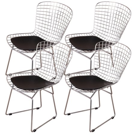 MLF Harry Bertoia Wire Side Chair (Set of 4). Chromed Wire Frame with Plastic Feet & PU Leather Cushion