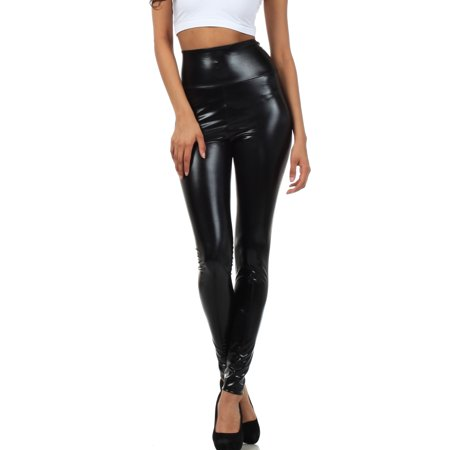 Sakkas Shiny Liquid Metallic High Waist Stretch Leggings - Made in USA - Black - Large for $<!---->