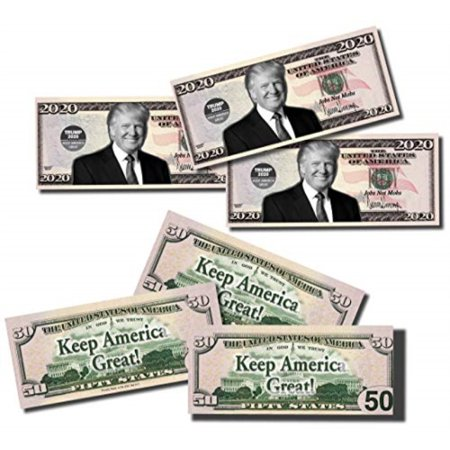TRUMP Best Real Looking Play Money, Real Size and Color Double Sided 50 Bills of 50, that resembles 50 states 2 packs 25 per