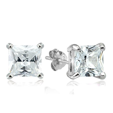 Sterling Silver 11ct Cubic Zirconia 10mm Square Stud Earrings