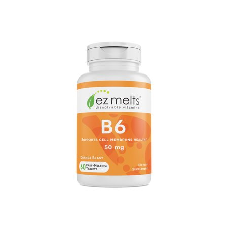 - EZ Melts B6, 50 mg, Dissolvable Vitamins, Vegan, Zero Sugar, Natural Orange Flavor, 60 Fast Melting Tablets