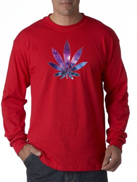 Trendy USA 1378 - Unisex Long-Sleeve T-Shirt Galaxy Marijuana Leaf Pot Plant High 2XL Red