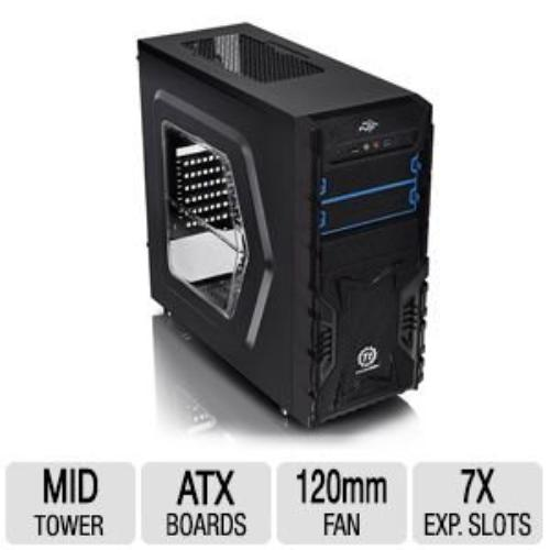 "Thermaltake Versa H23 Window Mid-tower Chassis - Mid-tower - Black - Steel - 8 X Bay - 1 X 4.72"" X Fan[s] Installed - Micro Atx, Atx Motherboard Supported (ca-1b1-00m1wn-01)"