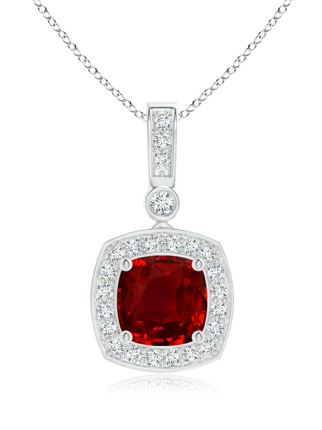 July Birthstone Pendant Necklaces Diamond Halo Vintage Cushion Cut Ruby Necklace Pendant in 950 Platinum (6mm Ruby)... by Angara.com