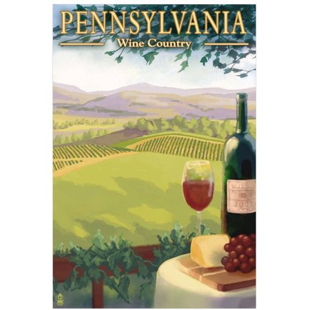 Pennsylvania Wine Country: Retro Travel Poster by Eazl Canvas Poster New Hampshire Wine