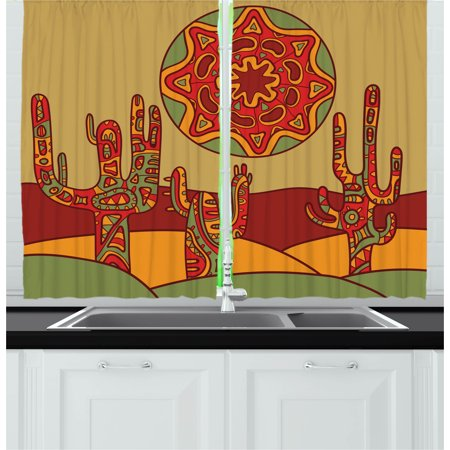 Cactus Curtains 2 Panels Set, Print Cartoon like Cactus Design with Oriental Tribal Effects Ethnic Art Image Print, Window Drapes for Living Room Bedroom, 55W X 39L Inches, Multicolor, by Ambesonne