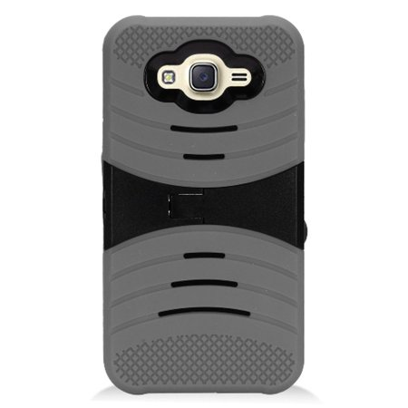 Samsung Galaxy J7 2016 Case, by Insten Wave Symbiosis Armor Hybrid Silicone/Hard PC Stand Case Cover For Samsung Galaxy J7 (2016) - Black - image 1 of 3