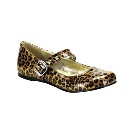 Gold Cheetah Print Cute Shoes Ballet Flat Mary Janes Size: 6