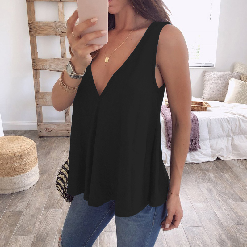 Lace Tank Tops Sleeveless Casual Blouse Loose Women Vest V-Neck T-Shirt Camisole