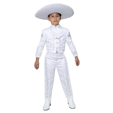 Boys White Silver Embroidered Mariachi Pants Jacket Hat Set