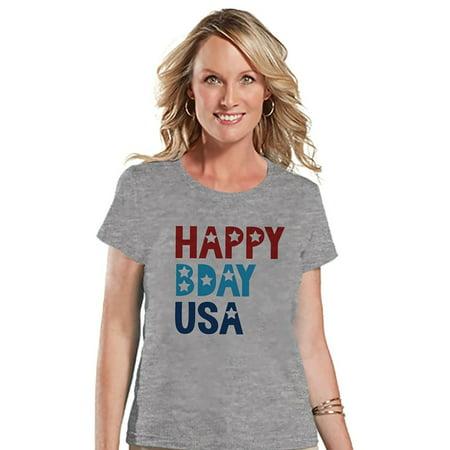Custom Party Shop Women's Happy Bday USA 4th of July Grey T-shirt - - Bday Ideas