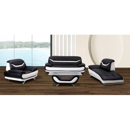 Ava 3 pc black and white faux leather modern living room - Living room sets with chaise lounge ...