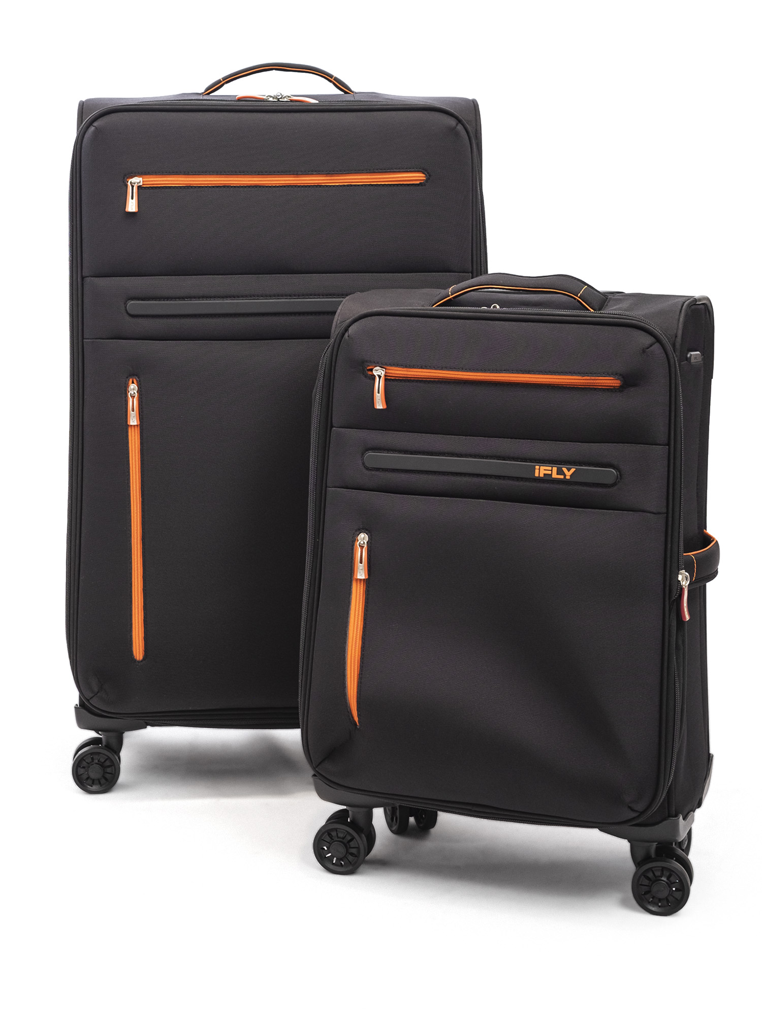 iFLY Soft Sided Luggage Omni 2 piece set, Black/Orange