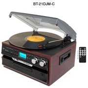 7-in-1 Boytone BT-21DJM-C 3 Speed Turntable 33/45/78 Rpm, Belt Drive, CD, Cassette Player AM/FM/ USB/SD Slot, Aux Input,