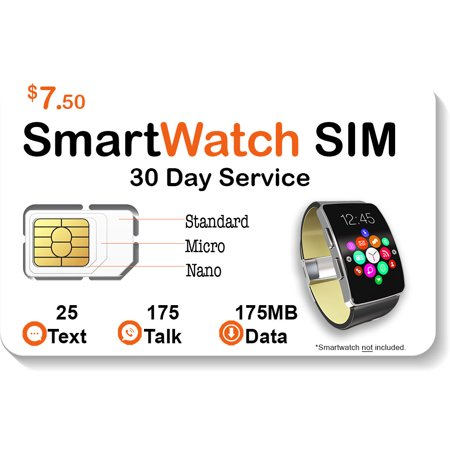 $7.50 Smart Watch SIM Card - Compatible with 2G 3G 4G LTE GSM Smartwatches and Wearables -30 Day Service - US Canada & Mexico