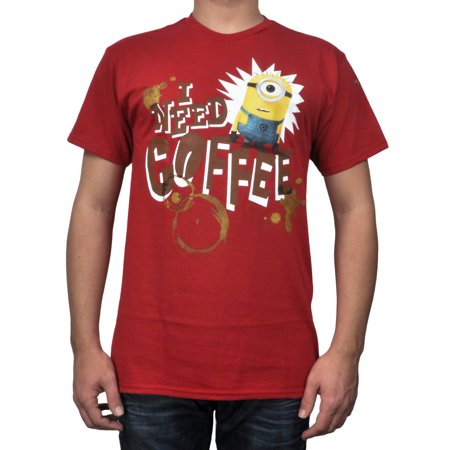 Men's Despicable Me Minions Red T-Shirt - I Need Coffee - Walmart Minions