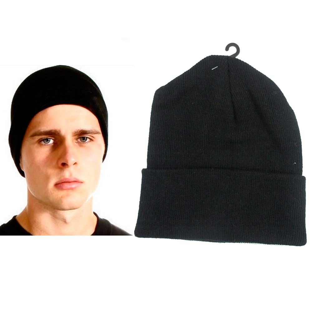 Plain Beanie Ski Cap Skull Hat Warm Solid Color Winter Cuff New Black Beany Men