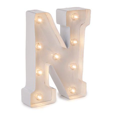 Darice Light Up Marquee Letter: White Letter N, 9.875 - Light Up Jewelry
