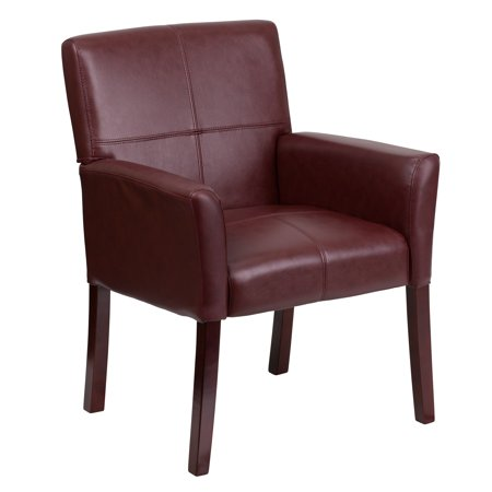A Line Furniture Burgundy Leather Executive Office side Chair with Mahogany Finished Legs