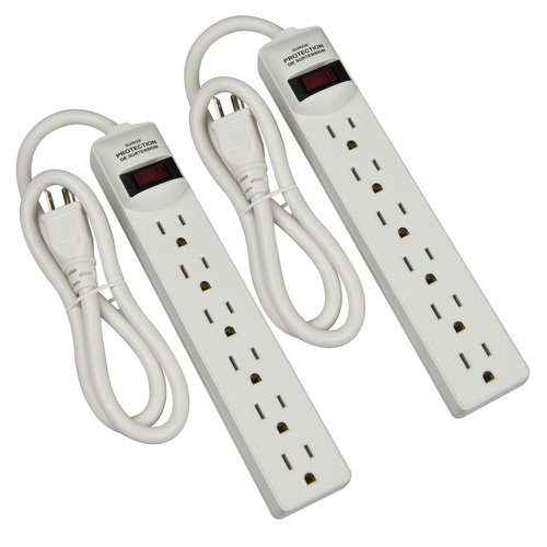 6-Outlet Surge Protector Strip, 2pk, White