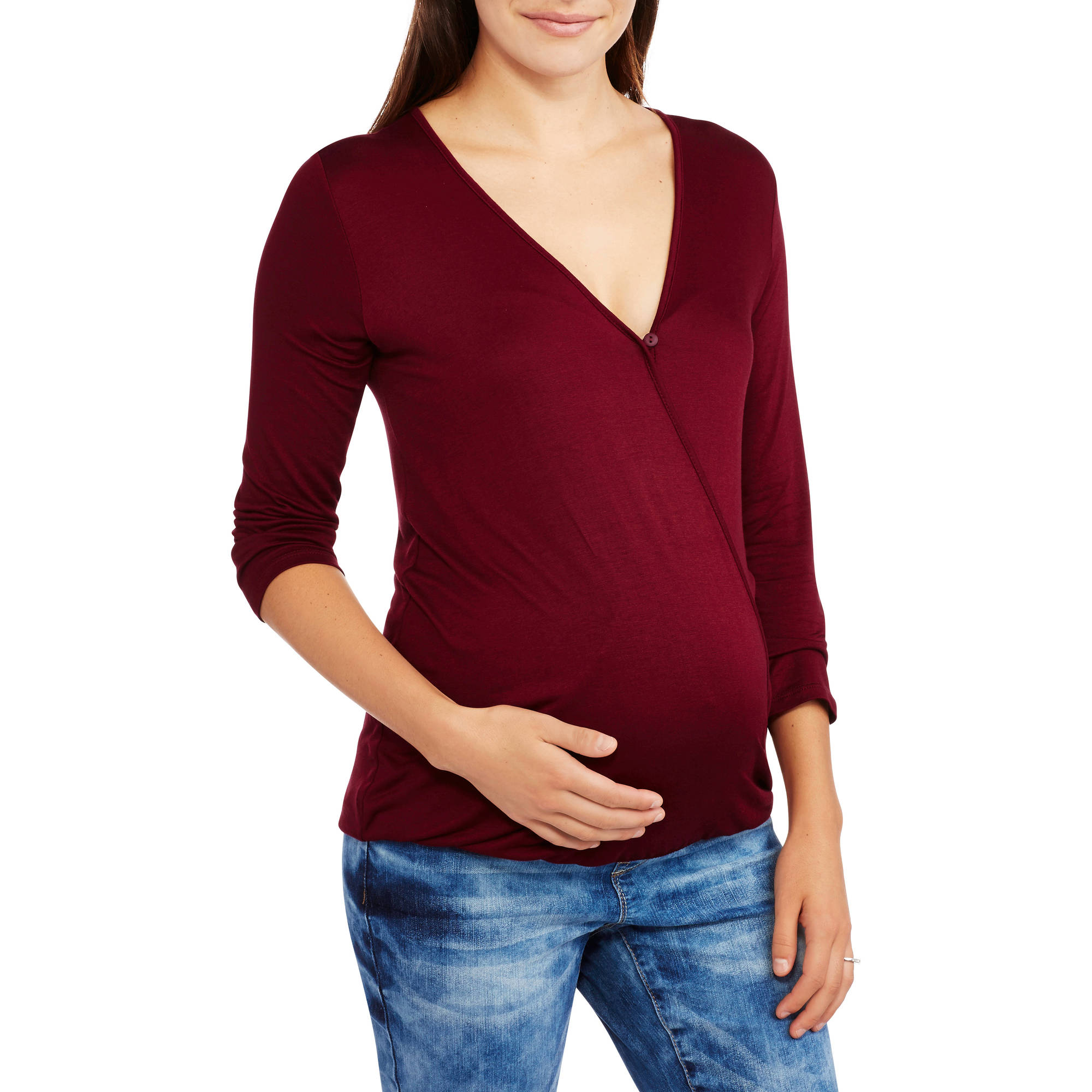 Maternity 3/4 Sleeve Cross Front Nursing Top