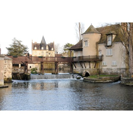 Peel-n-Stick Poster of France Cascade Mill Landscape Moret-sur-loing Poster 24x16 Adhesive Sticker Poster Print