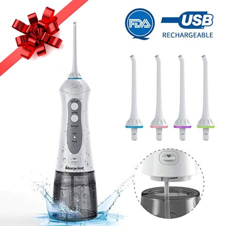 Cordless Water Flosser Water Pick Dental Oral Irrigator with 4 Jet Nozzles Replacement FDA (Best Cordless Oral Irrigator)