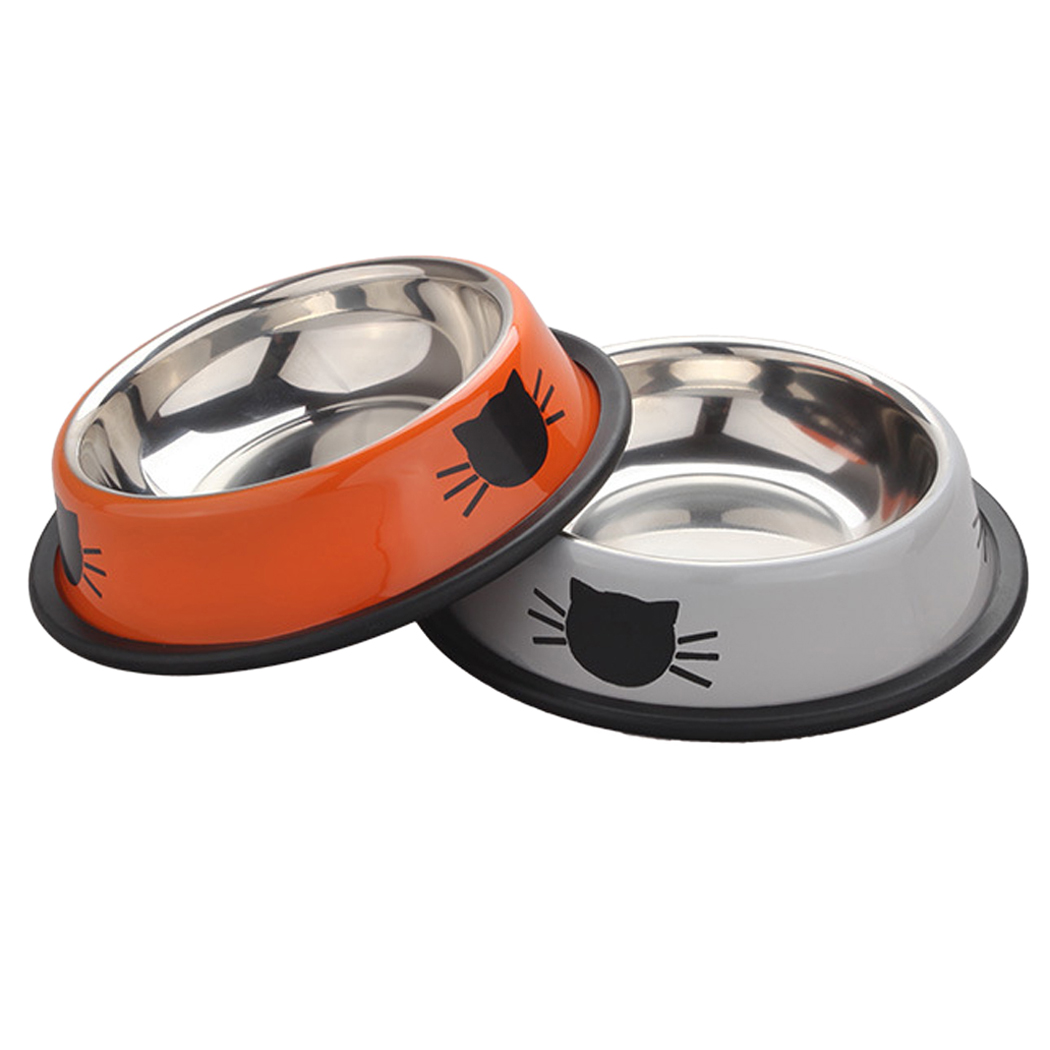 2 Pcs Pet Bowl set, Legendog Stainless Steel Dog Cat Food Bowl Water Dish with Non-skid Rubber Base for Dog Cat