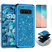 Samsung Galaxy S10 Plus Case with Screen Protector, Dteck Shockproof Hybrid Three Layer Protective Cover Glitter Back Shell For Samsung Galaxy S10+, Blue
