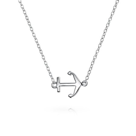 Small Sideways Diagonal Nautical Boat Anchor Pendant Necklace For Women 925 Sterling Silver 16 In (Nautical Necklace)