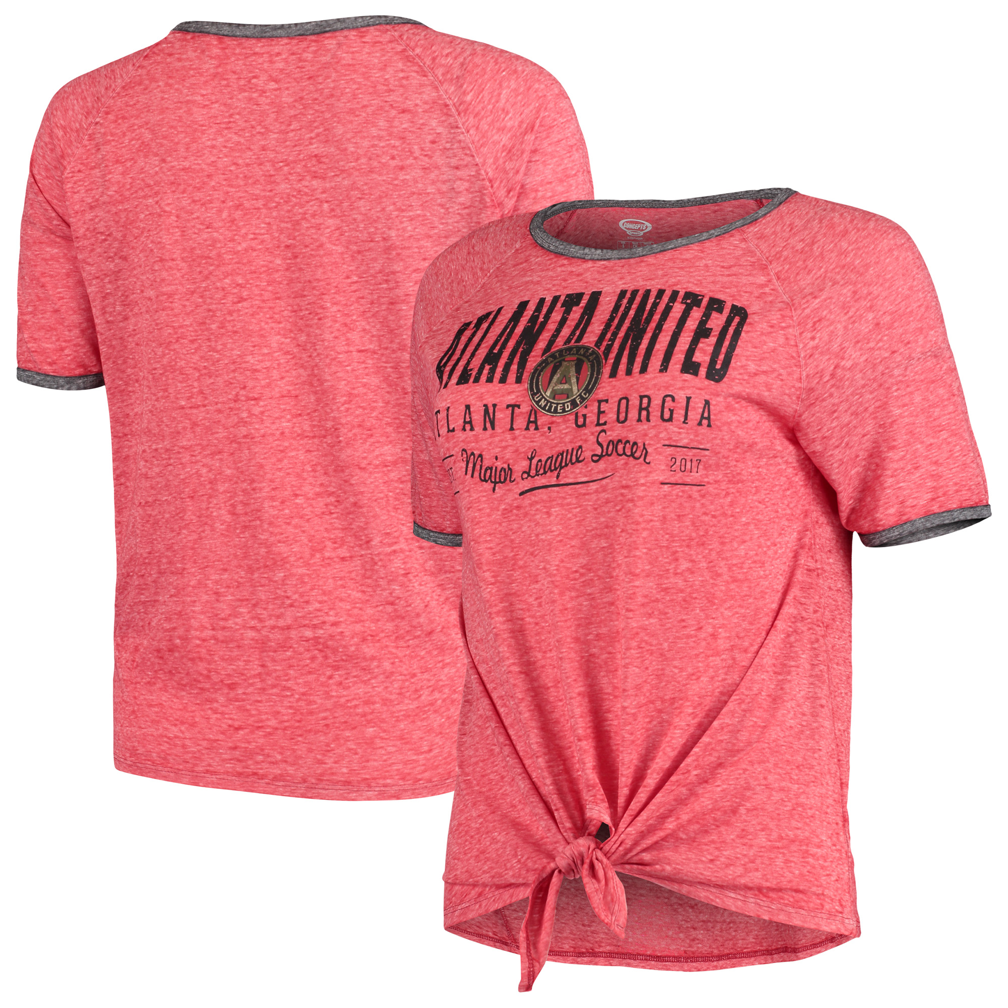 Atlanta United FC Concepts Sport Women's Squad Tie-Up T-Shirt - Heathered Red