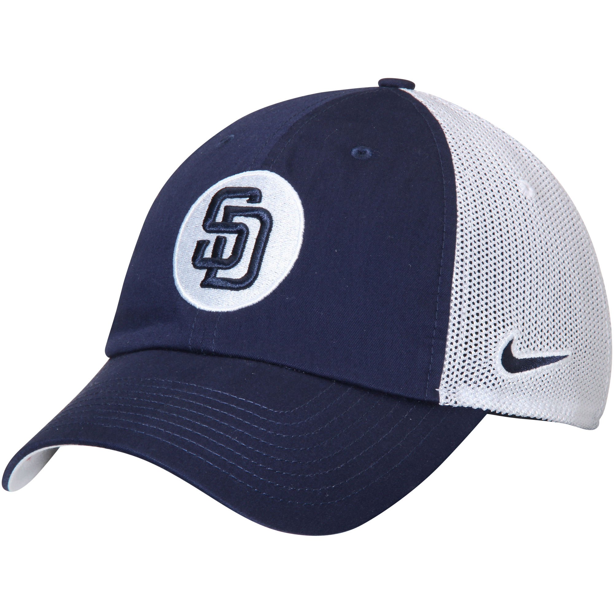 San Diego Padres Nike Heritage 86 Fabric Mix Performance Adjustable Hat - Navy/White - OSFA