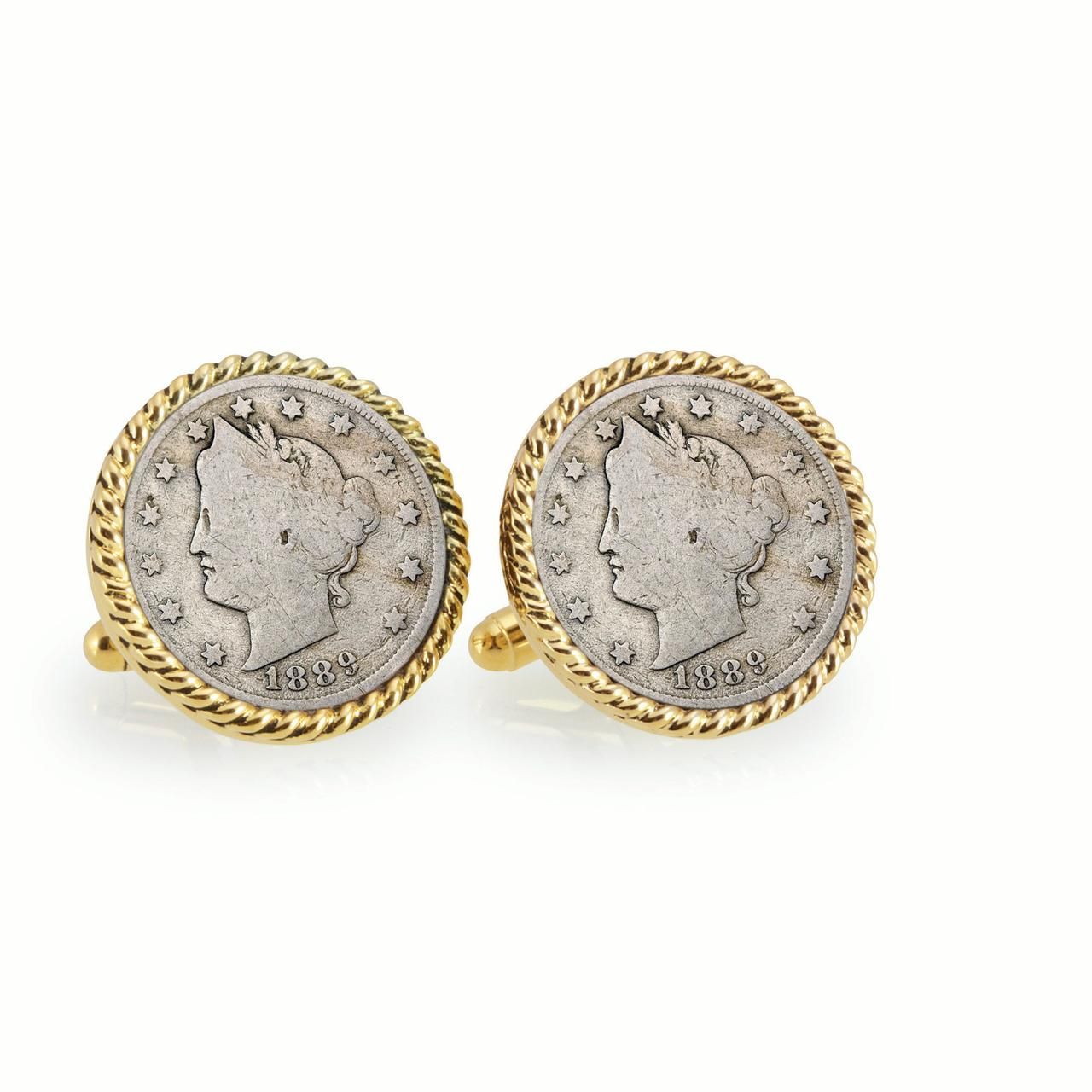 UPM Global LLC 12723 1800s Liberty Nickel Goldtone Rope Bezel Cuff Links